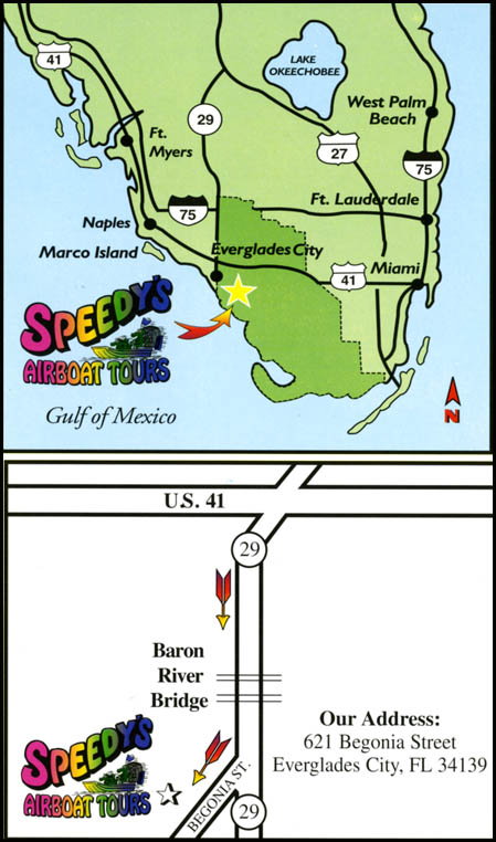 Speedys Airboat Tours Everglades City Florida  Map and Directions